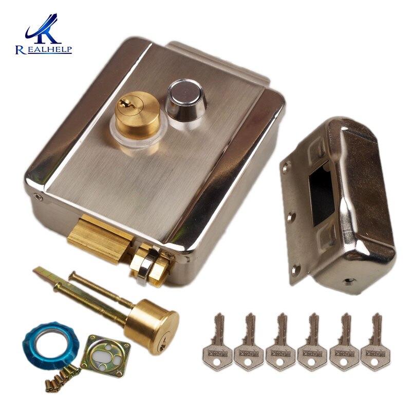 Система безопасности доступа новый электронный дверной замок для дома проводной видеодомофон система безопасности DC12V locks for doors locks for security doorslock door   АлиЭкспресс