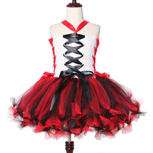 New Girls Halloween Tutu Dresses Zombie Vampires Play Costumes Black Red Kids Scary Monster Theme Carnival Party