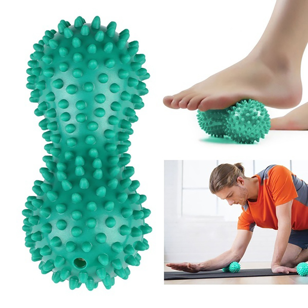 Peanut Shape Massage Yoga Sport Fitness Ball Durable PVC Stress Relief Body Hand Foot Spiky Massager Trigger Point Foot Pain drought stress in peanut