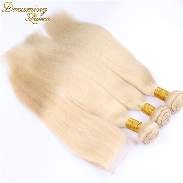 7A Russian Virgin Hair With Closure Blonde Russian Hair Weave Bundle 1Pc Lace Closure With 3 bundles 613 Color weft with closure