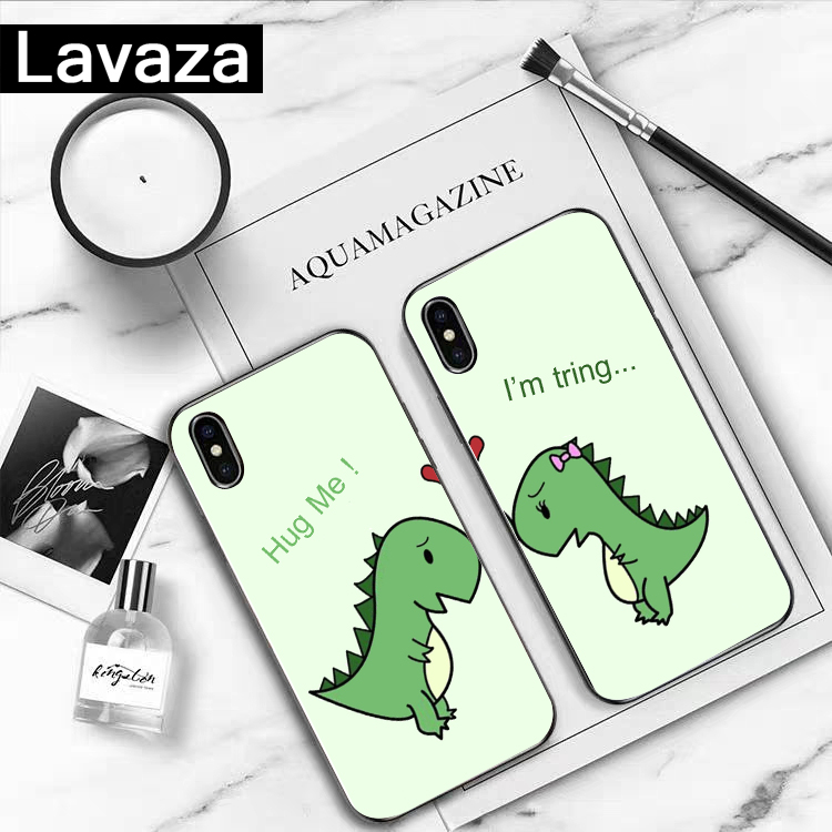 Lavaza Cartoon printing couple Silicone Case for iPhone 5 5S 6 6S 7 8 11 Pro Plus X XR XS Max in Fitted Cases from Cellphones Telecommunications