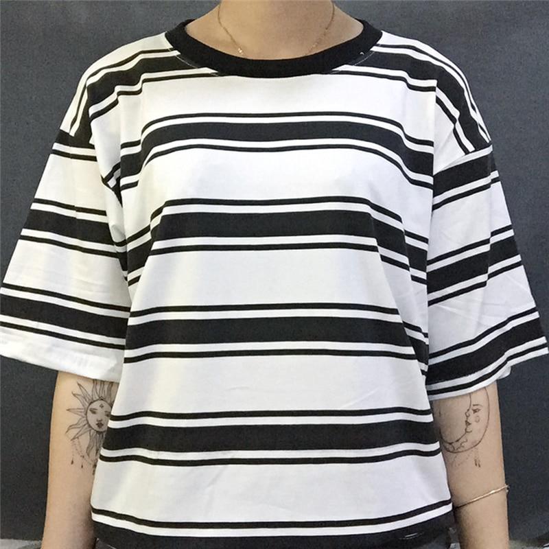 2018 College Harajuku suelta a rayas Camiseta de manga corta Mujer Hit Color Casual mujeres camisetas S-XL cuello redondo Mujer Tops