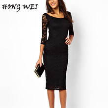 HONGWEI New European 2017 Autumn Women's Lace Hollow Out Long Dresses Femme Casual Clothing Women Sexy Slim Fitted Party Dress