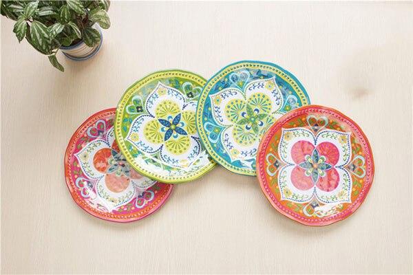 4pc Melamine dinnerware set Hamsa vintage flower round plate 23cm buffet tray dessert salad plastic dining & 4pc Melamine dinnerware set Hamsa vintage flower round plate 23cm ...