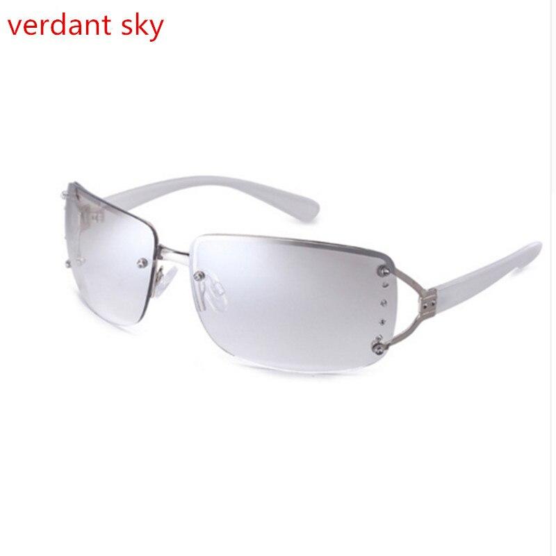 c8897e9de8a 2018 Rimless Sunglasses Women Luxury Diamond Design White Square Frame  Brand Sun Glasses For Women With 100% anti ultraviolet-in Sunglasses from  Apparel ...