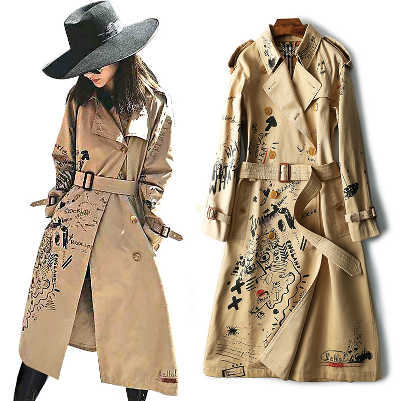 Twill Graffiti Pattern   Trench   Coat for Women Winter Outerwear Slim Autumn Long Elegant Casual Style Female Coat with Waterproof