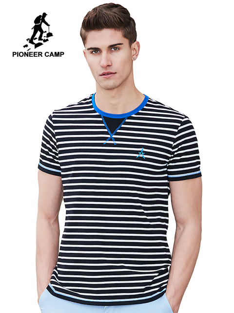 8ed69c782f Pioneer Camp 2019 New striped T-shirt men brand clothing fashion short T shirt  male