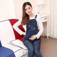 Big Pocket Maternity Overalls Trouser Maternity Jeans Pant Pregnancy Clothes Ripped Hole Cartoon Embroidery Pregnant Women Pant