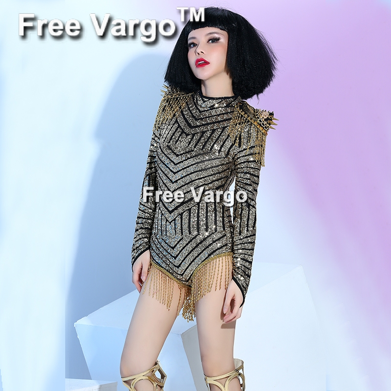 Burning Man Drag Queen Rivet Tassel Jumpsuit Women Sequin Fringe Outfit Party Costume Stage Bodysuit Celebrity