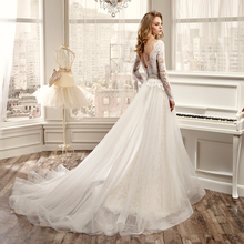 NP002 wedding dresses removable skirt appliqued long sleeve lace robe de mariage dress detachable