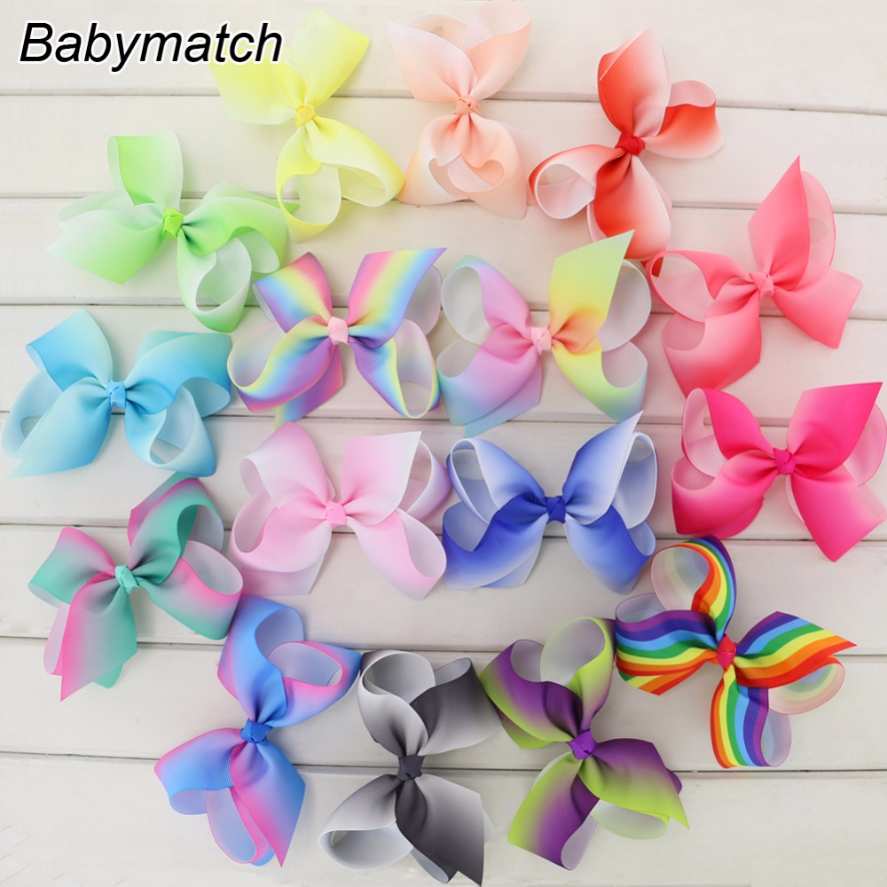 Babymatch Boutique 4.5 Grosgrain Ribbon Hair Bows WITH Alligator Clip Rainbow Bow For Teens Girls Kids Fashion Gift Bows Clips