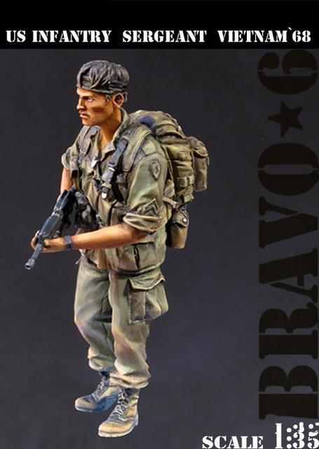 Ассамблея модель для сборки 1/35 ВТОРОЙ МИРОВОЙ ВОЙНЫ США Пехоты Сержант, вьетнам солдат фигура Исторических ВТОРОЙ МИРОВОЙ ВОЙНЫ Смола Модель Неокрашенные resin kits