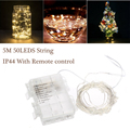 5M 50leds Led String With 13Key remote IP44 Waterproof  Battery Operated LED Decorative Copper Wire Fairy String Lights