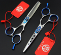 2pcs 5.5'' Thinning Barber Hair Teeth Flat Silver Scissors Stainless Steel Hair Scissor Hairdresser Shear Clipper DIY G015