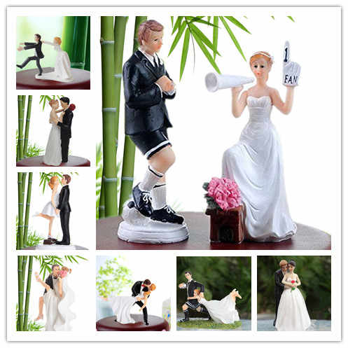 Funny Bride Groom Figurine Wedding Cake Toppers Resin Decor Lover Couples Gift Cake Accessory free shipping