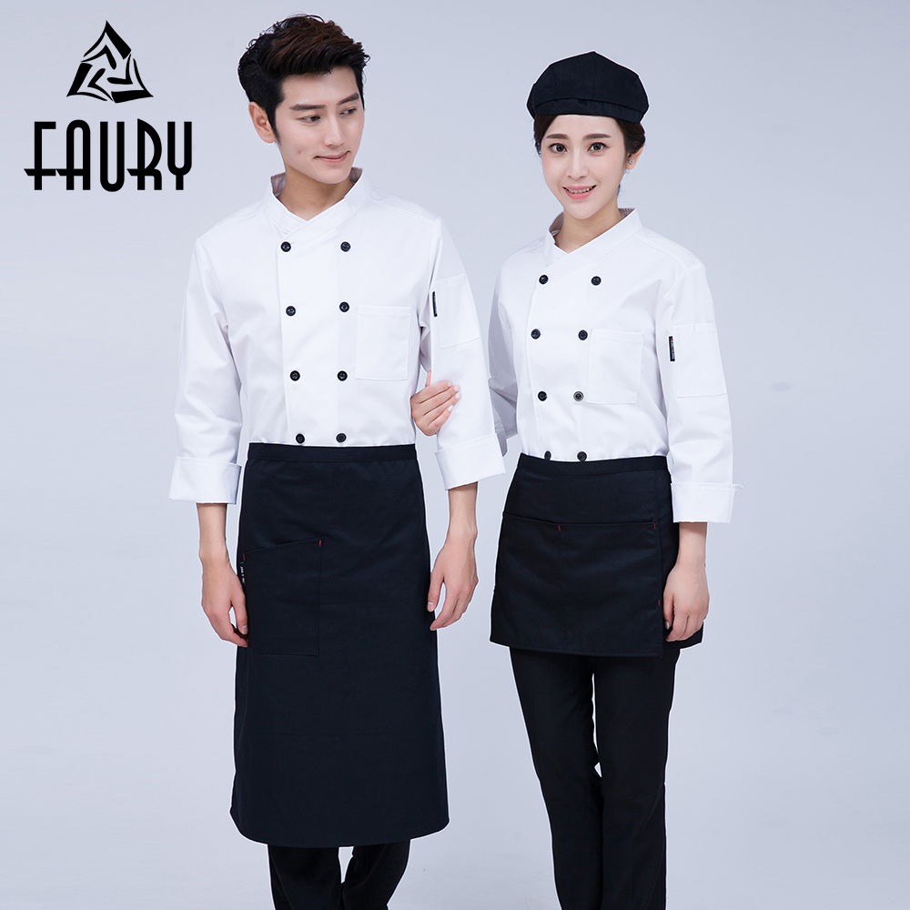 Pure Color Kitchen Work Wear Jackets Restaurant Food Service Bakery Coffee Shop Waiter Uniforms Tops Chef Cook Overalls Clothing