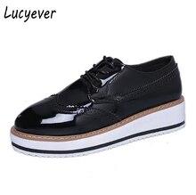 Lucyever 2017 Printemps Automne Femmes Chaussures En Cuir Verni Occasionnels Classique Lace Up Plat Plate-Forme Chaussures Femme Patchwork Bout Rond Chaussures
