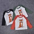 2016 Del Otoño Del Resorte Del Bebé Niños Niño bebé Niños Niñas Fox Imprimir T-shirt de Manga Larga Tops Niños Camiseta Ropa de Tamaño 1-6Y