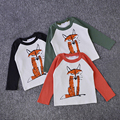 2016 Spring Autumn Infant Toddler Kids Baby Boys Girls Fox Print T-shirt Long Sleeve Tops Children T-Shirt Clothes Size 1-6Y