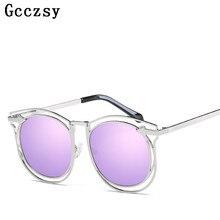 Gcczsy 2017 Nuevas Gafas de Sol de Las Mujeres Diseñador de la Marca de Metal Oval Gafas de Marco Mujeres Steampunk Gafas de sol mujer UV400