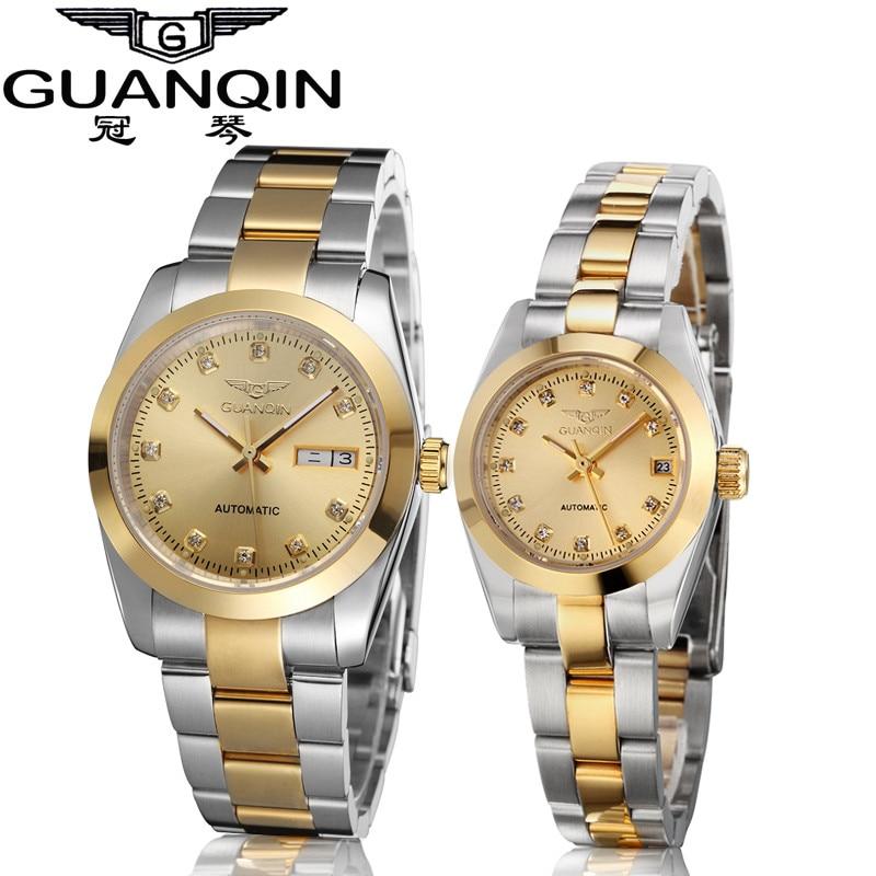 GUANQIN Gold Couple Watch Men Women Mechanical Watch Luminous Calendar Week Waterproof Rhinestones Automatic Lovers Watches