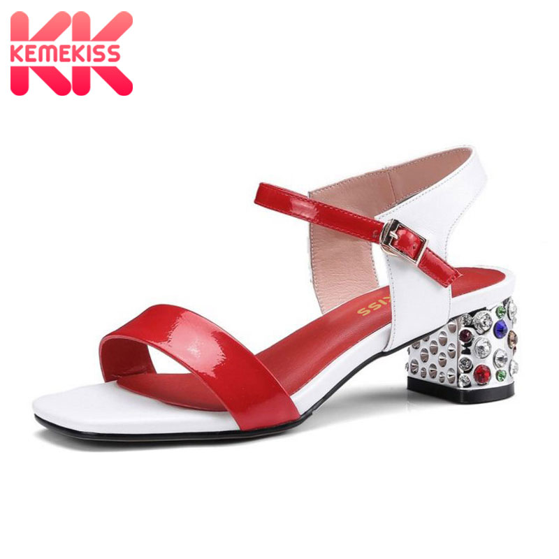 KemeKiss Women High Heel Sandals Genuine Leather Buckle Thick Heel Mixed Color Elegant Sandals Party Office Footwear Size 33-42 taoffen women high heel sandals buckle open toe mixed color genuine leather ladies shoes sexy sandals party footwear size 33 40