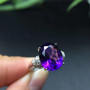 Image 1 - MeiBaPJ Natural Amethyst Gemstone Fashion Ellipse Simple Ring for Women Real 925 Sterling Silver Fine Charm Jewelry