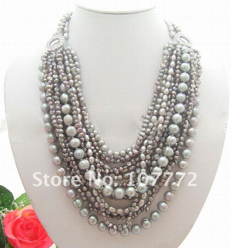 15 strands Grey Pearl Necklace ...