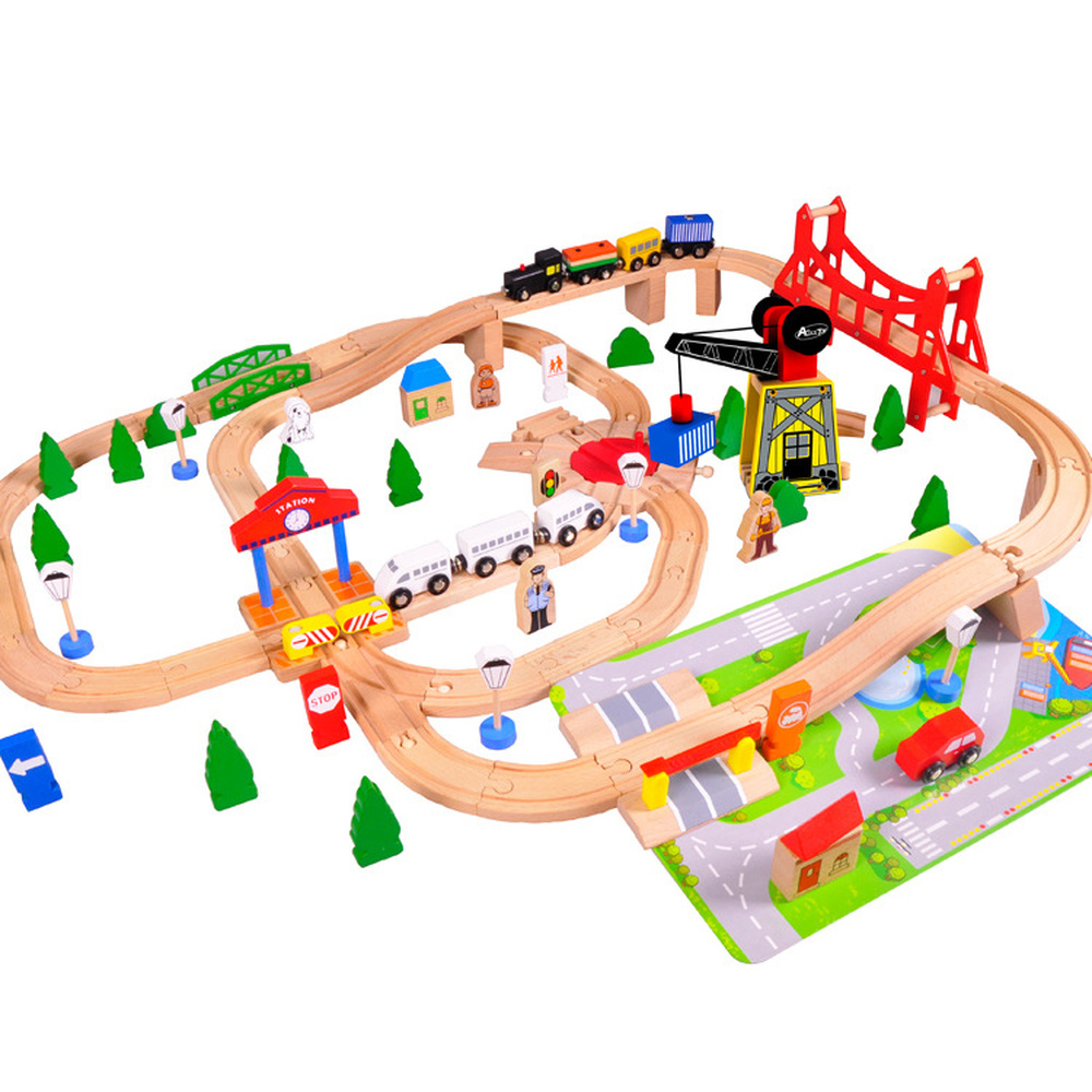 Acool Toy 100 Large Train Wooden Track Toy To Cultivate Baby Logic Thinking To Improve Attention Puzzle DIY Assembled Toys