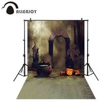 Allenjoy backgrounds for photography studio scarecrows pumpkin field magic stove dark forest backdrop Halloween photocall