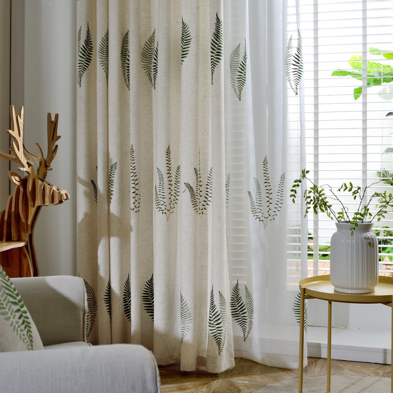 Korean Rural Embroidered Curtains For Living Dining Room Bedroom