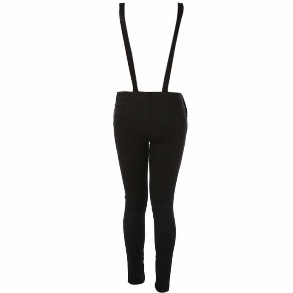 Женский облегающий джинсовый черный женский джинсовый комплект осень-зима 2019, штаны с дырками, джинсовые комбинезоны с дырками для женщин #824