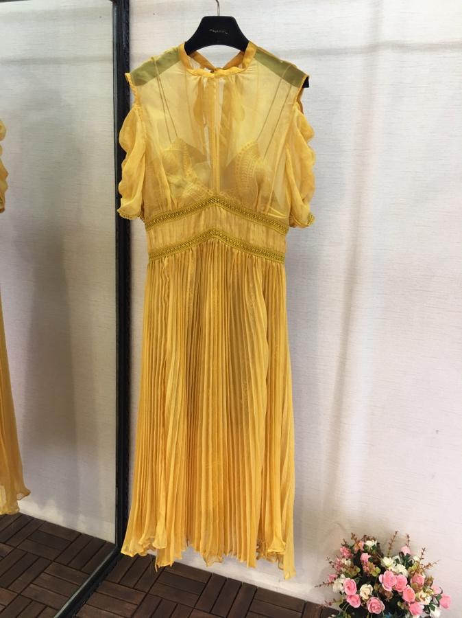 2019 nouvelles dames mode robe jaune 0330