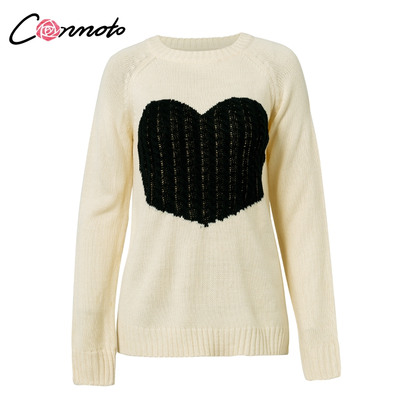 Conmoto Regular O Neck Long Sleeve <font><b>Sweater</b></font> Heart Patchwork Winter Thin Knitwear Pullover Sweters <font><b>Women</b></font> <font><b>Invierno</b></font> <font><b>2018</b></font> image