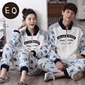 Autumn And Winter Couples Coral Fleece Lovers Sleepwear Male's Or Female's Thermal Long-sleeve Sleepwear Flannel Lounge Set