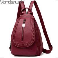 Sac Dos для женщин универсальный рюкзак женский кожаный груди мешок большой ёмкость рюкзак со сборками школьная сумка для девочки путешествия...