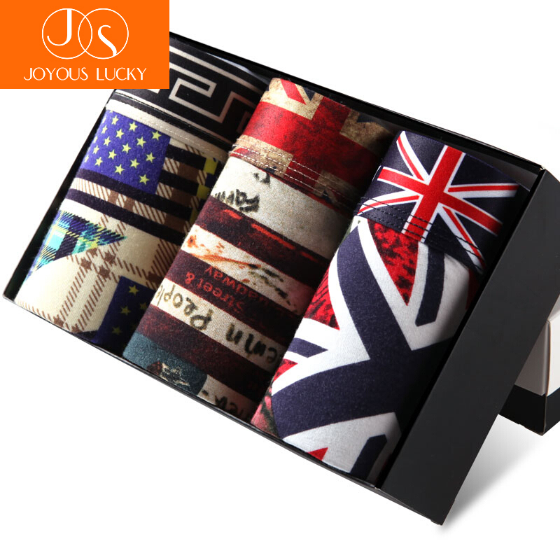 JOYOUS LUCKY Real Character New Fashion British Flag Mens Ice Underwear boxers men Sexy Modal Boxer Shorts Summer Pants Belts