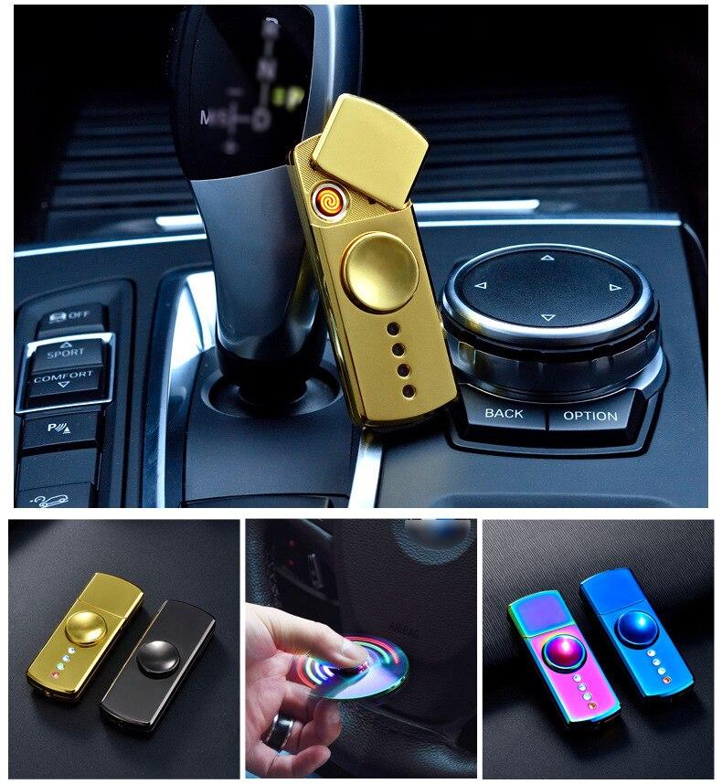 10pcs lot Fidget Spinner Electronic USB Charging Lighter Finger Hand Spinner Toys Spiner Metal Lighter Gift