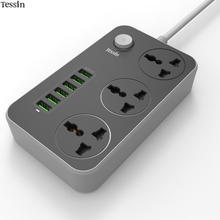 TESSIN 6 Port USB Charger 3.4A 3 Outlet Power Strip 2500W Surge Protect For iPhone iPad Samsung Huawei Nexus Mp3 AC Cord Adapter