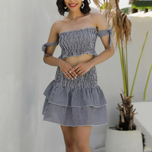 Boho butterfly tie sleeve black and white plaid ruffle top and skirt set women two piece outfits summer sexy sets off shoulder