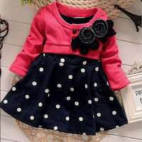 2015 Baby Girl Toddler Party Long Sleeve Polka Dot Princess Tutu Bow Dress WInter Autumn Clothing