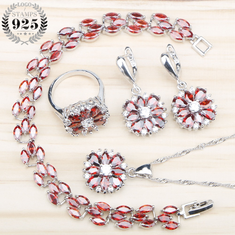 Drop 925 Sterling Sliver Red Zircon Bridal Jewelry Sets Women Bracelets/Necklace&Pendant Earrings Rings Set Jewelery Gift Box