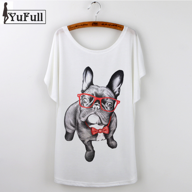 0cc46c0d92b6 2018 Harajuku White T-shirt Women Ladies Tops summer Cute French Bulldog  Pug Animal Print Casual Funny T Shirt Tee Shirt Femme