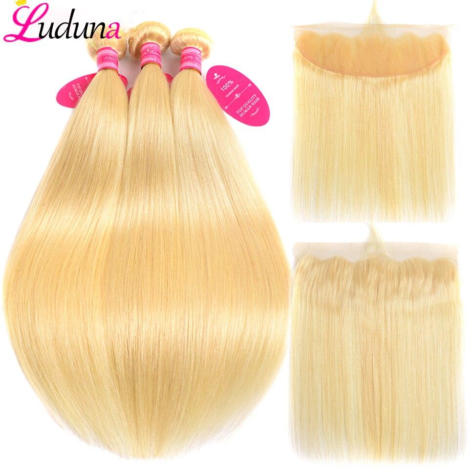 Luduna Blonde 613 Hair Bundles With Frontal Malaysian Straight Human Hair Bundles With Closure 13 4