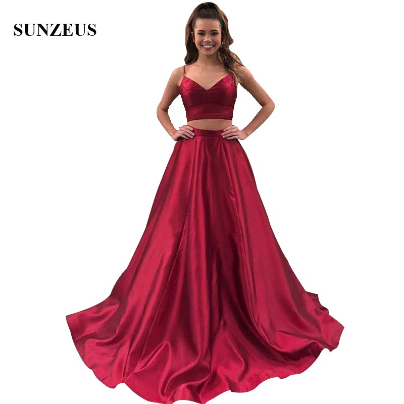 Spaghetti Straps Crop Top Prom Dress 2 Pieces Wine Red Satin Long Party Gowns For Girls Simple A-line Graduation Night Dress