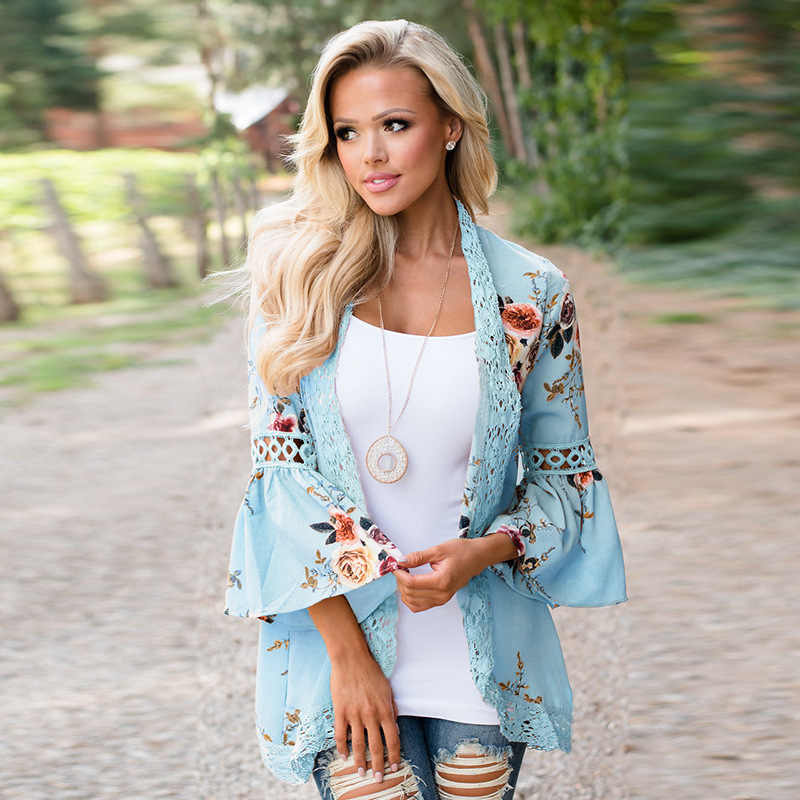 ผู้หญิงลำลอง Streetwear เสื้อลูกไม้ Patchwork Cardigans ฤดูใบไม้ผลิหญิงฤดูร้อน Outerwear Flare แขนเสื้อกันหนาวหลวมเสื้อแจ็คเก็ต