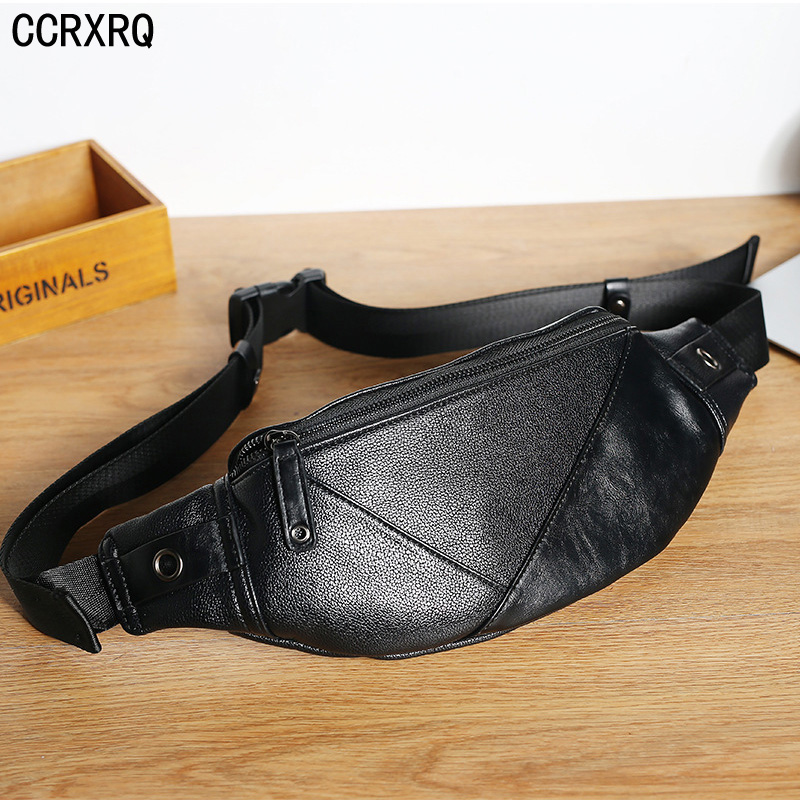 Men's Waist Bags PU Leather Man Chest Bag Fashion Crossbody Shoulder Bags Male Leisure Travel Waist Pack Unisex Black Fanny Pack