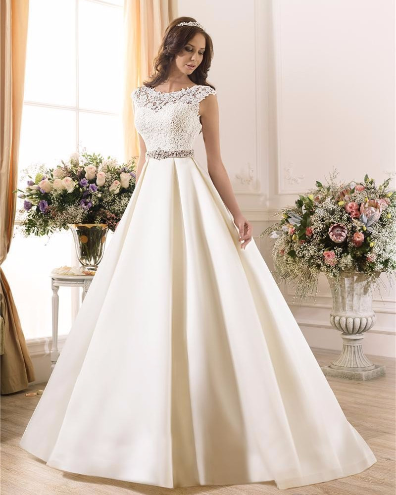 2017 new white taffeta cap sleeve a line wedding dress for Average price of wedding dress 2017
