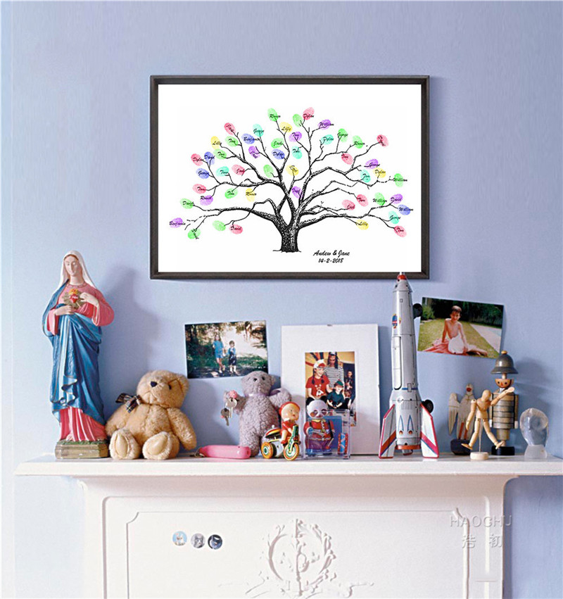 Family Tree Wall Paint Wedding Birthday Party Guest Fingerprint Tree Pink