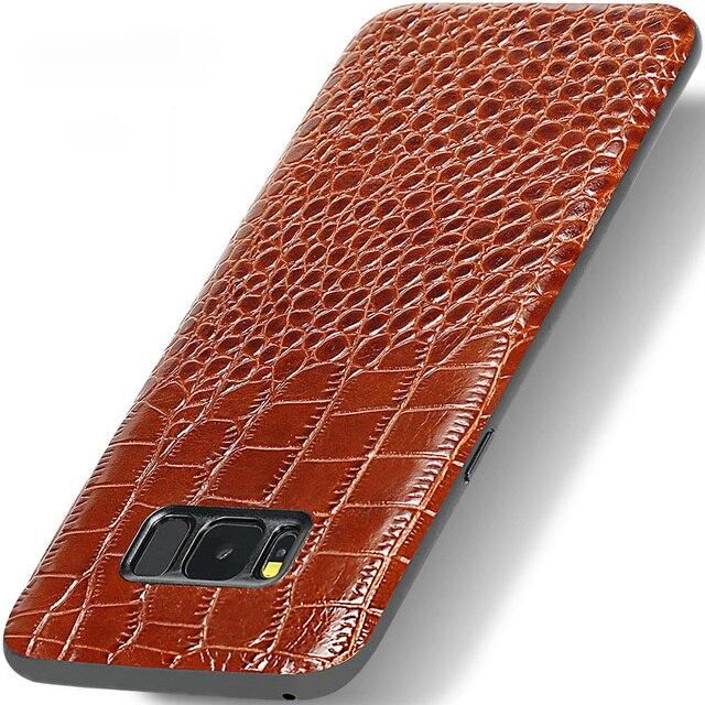 Genuine Leather Phone Case For Samsung S7 S8 S9 Plus Note 8 9 A3 A5 A7 A8 J3 J5 J7 2018 Crocodile Texture Original Cowhide cover